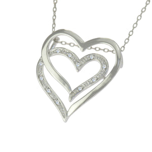 18 in - 925 Sterling Silver Round Clear Cubic Zirconia Hearts Necklace