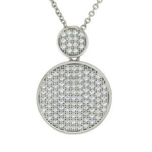 17-19 in - Sterling Silver Round Clear Cubic Zirconia Micro Pave Disc Necklace