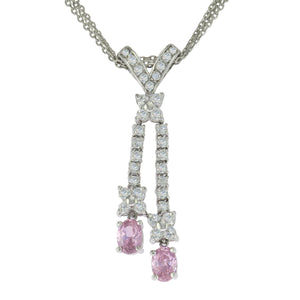 18 in - 925 Sterling Silver Oval Pink CZ Clear CZ Dangle Drop Necklace