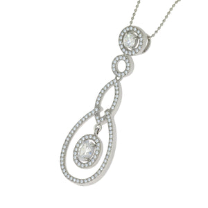 16 in - 925 Sterling Silver Round Clear Cubic Zirconia Micro Pave Necklace