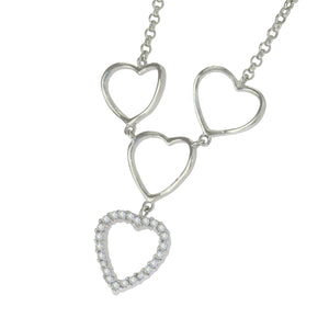 16-18 in - 925 Sterling Silver Round Clear Cubic Zirconia Hearts Necklace
