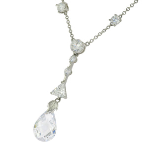 16 in - Sterling Silver Multi-Shape Clear Cubic Zirconia Dangle Drop Necklace