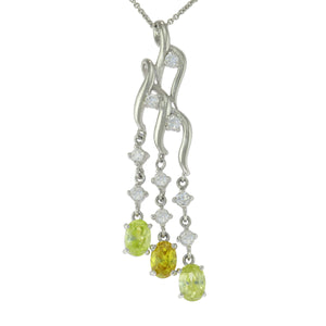 18 in - 925 Sterling Silver Oval Yellow CZ Clear CZ Triple Drop Necklace