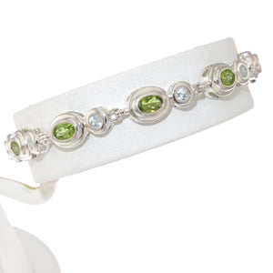 7 in - 925 Sterling Silver Green and Clear Cubic Zirconia Tennis Bracelet