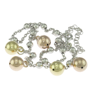 15.5-18 in - Sterling Silver Fancy Three-Tone Dangle Drop Puffed Ball Necklace
