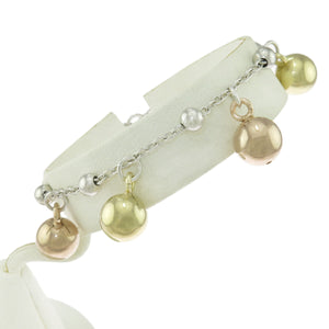 7.25 in Sterling Silver Fancy Three-Tone Dangle Drop Puffed Ball Charm Bracelet