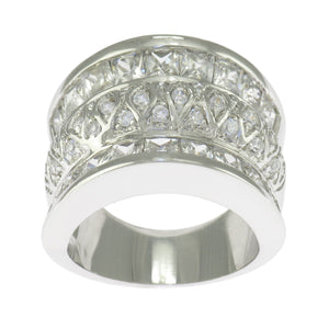925 Sterling Silver Round Clear Cubic Zirconia Wide Band Ring