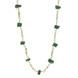 19-21.5 in - Gold over 925 Sterling Silver Nugget Green Quartz Necklace