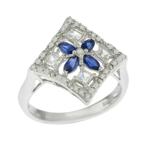 925 Sterling Silver Oval Blue Spinel Clear Quartz Diamond Accents Ring