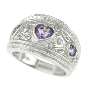 925 Sterling Silver Genuine Amethyst Three Hearts Ring