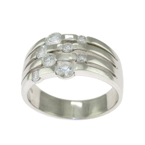 Sterling Silver Round Clear CZ Multi-Raw Bubble Cocktail Band Ring