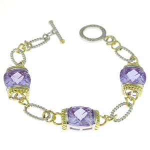 7.5 in - Two Tone Sterling Silver Lavender CZ Cubic Zirconia Rope Link Bracelet