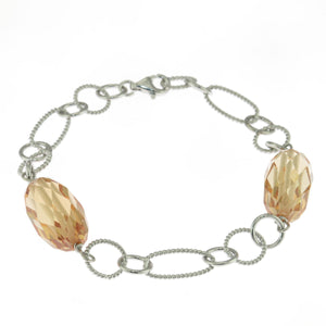 7 in - 925 Sterling Silver Champagne Crystal Faceted Nugget Bead Link Bracelet