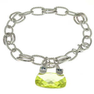 7.5 in - Sterling Silver Lime Green Cubic Zirconia Handbag Purse Charm Bracelet