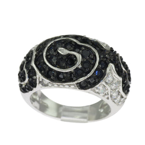 Sterling Silver Round Black & White CZ Modern Art Cocktail Band Ring