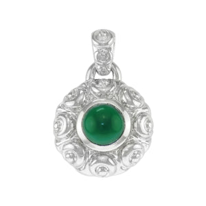 1 1/8 in - Sterling Silver Round Green Crystal Puffed Antique Style Pendant