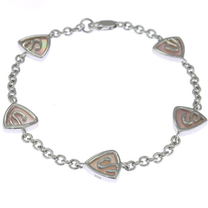 7 in - 925 Sterling Silver Mother of Pearl Triangles Reversible Bracelet