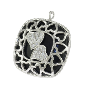 1.25 in Sterling Silver Cushion Cut Black Onyx Clear CZ Hearts Filigree Pendant
