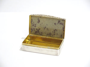 3 in Sterling Silver Gilded Interior Marble Antique English Birmingham Snuff Box
