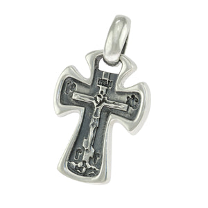 1.25 in - Sterling Silver Russian Orthodox Oxidized Cross with Crucifix Pendant
