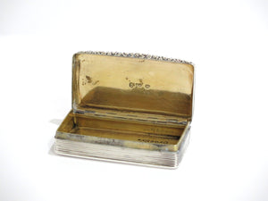 2.75 in - Sterling Silver Gilded Interior Antique English Snuff Box