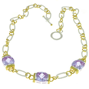 17 in - Two Tone 925 Sterling Silver Lavender CZ Rope Link Toggle Necklace