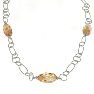 24 in - 925 Sterling Silver Champagne Crystal Faceted Nugget Bead Link Necklace