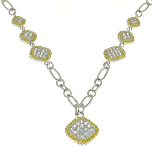 18 in - CZ Pave Squares Two Tone 925 Sterling Silver Rope Link Cable Necklace