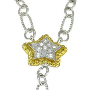 18 in - CZ Pave Stars Two Tone 925 Sterling Silver Rope Link Cable Necklace