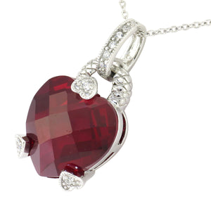16-18 in - Esposito 925 Sterling Silver Red Diamonique Heart Adjustable Necklace