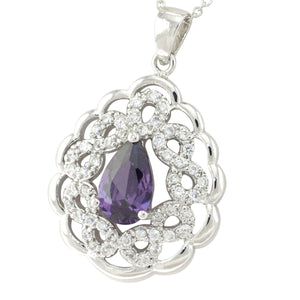 18 in - Vintage Style Purple CZ 925 Sterling Silver Lace Pendant Necklace