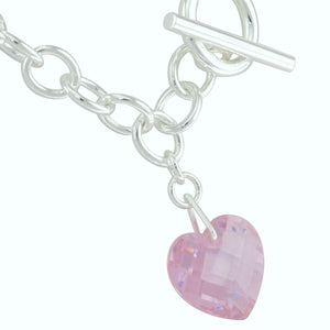 16 in - CZ Pink Crystal Heart Pendant 925 Sterling Silver Toggle Necklace