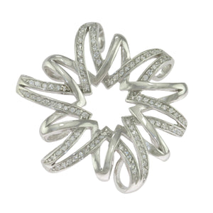 1.75 in - Sterling Silver Round Clear CZ Polished Fancy Flower Slide Pendant