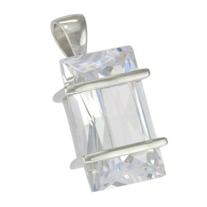 1 in - 925 Sterling Silver Radiant Cut Clear Cubic Zirconia Pendant