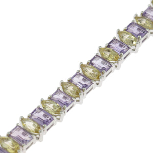 7.5 in - 925 Sterling Silver Purple Cubic Zirconia Yellow Tennis Bracelet
