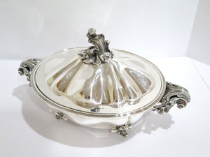 15 3/8 in - Sterling Silver Ganci Carmelo Milan Antique Floral Oval Hot Food Pot