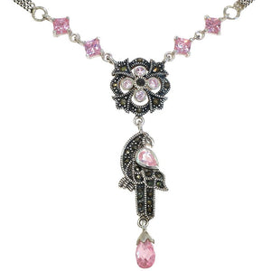 17.5 in - 925 Sterling Silver Multi-Shape Pink CZ Marcasite Parrot Bird Necklace