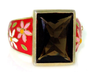 925 Sterling Silver Red Enamel Daisy Smoky Quartz Ring