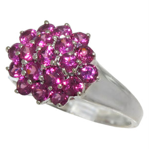 925 Sterling Silver Genuine Tourmaline Cluster Ring