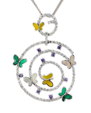 "18"" - 925 Sterling Silver Enamel Butterfly Swirl CZ Necklace"