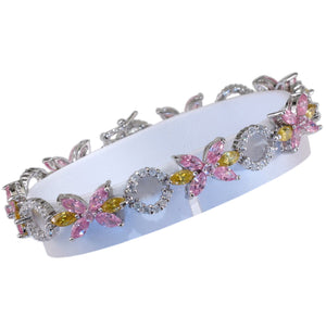 "7"" 925 Sterling Silver Multi-color Flower & Clear Circle CZ Link Bracelet"