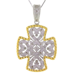 "18"" Two Tone 925 Sterling Silver Byzantine Style Cross"