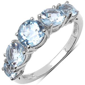 925 Sterling Silver 6.00 mm 0.70 ctw Round Blue Topaz Blue Topaz Ring