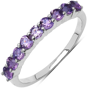 925 Sterling Silver 2.50 mm 0.75 ctw Round Amethyst Ring