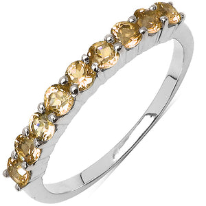 925 Sterling Silver 2.50 mm 0.75 ctw Round Citrine Ring