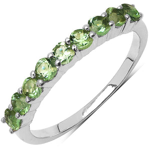 925 Sterling Silver 2.50 mm 0.75 ctw Round Peridot Ring