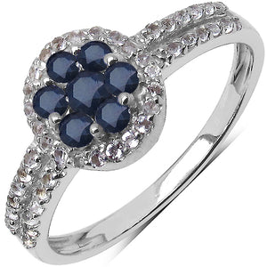 925 Sterling Silver 2.00 mm 0.49 ctw Round Sapphire White Topaz Ring