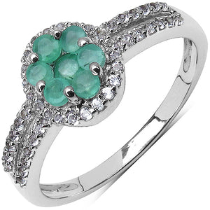 925 Sterling Silver 2.00 mm 0.35 ctw Round Emerald White Topaz Ring