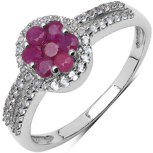 925 Sterling Silver 2.00 mm 0.45 ctw Round Ruby White Topaz Ring