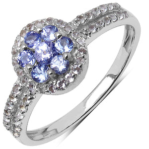 925 Sterling Silver 2.00 mm 0.37 ctw Round Tanzanite White Topaz Ring